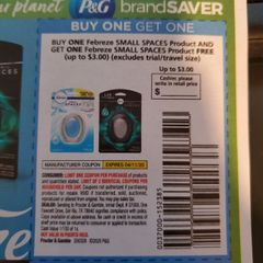 10 Coupons BOGO Febreze Small Spaces (Up To $3.00) Exp.4/11/20