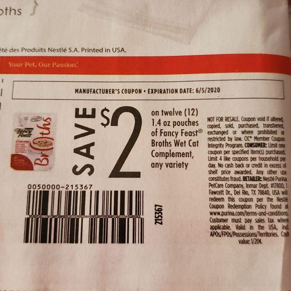10 Coupons $2/12 Fancy Feast Broths Wet Cat Compliment 1.4oz Pouches Exp.6/5/20