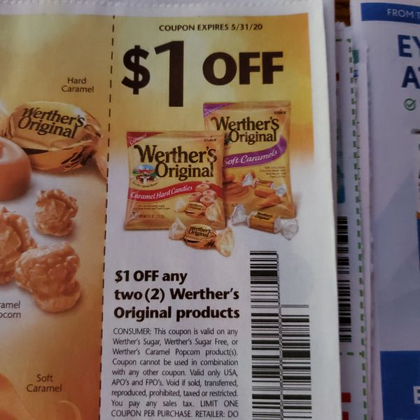 10 Coupons $1/2 Werther's Original Products Exp.5/31/20
