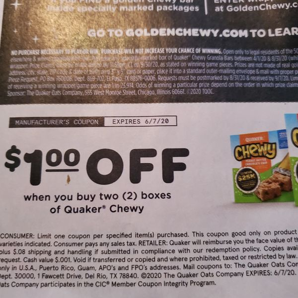 10 Coupons $1/2 Quaker Chewy Exp.6/7/20