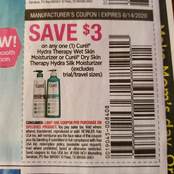 10 Coupons $3/1 Curel Hydra Therapy Wet Skin Moisturizer or Curel Dry Skin Therapy Hydra Silk Moisturizer Exp.6/14/20