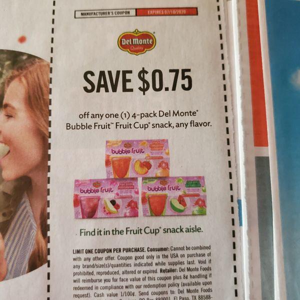 10 Coupons $.75/1 Del Monte Bubble Fruit Cup Snack exp.7/10/20