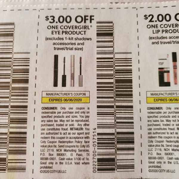 10 Coupons $3/1 Covergirl Eye Product (Excludes 1-Kit shadows, Accessories) Exp.6/6/20