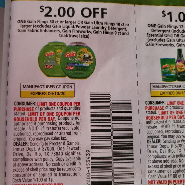 10 Coupons $2/1 Gain Flings 30ct+ Or Gain Ultra Flings 18ct+ (Excludes Gain Liquid/Powder Laundry Detergent, Gain Fabric Enhancers, Gain Fireworks, Gain Flings 9ct or Less) Exp.6/13/20