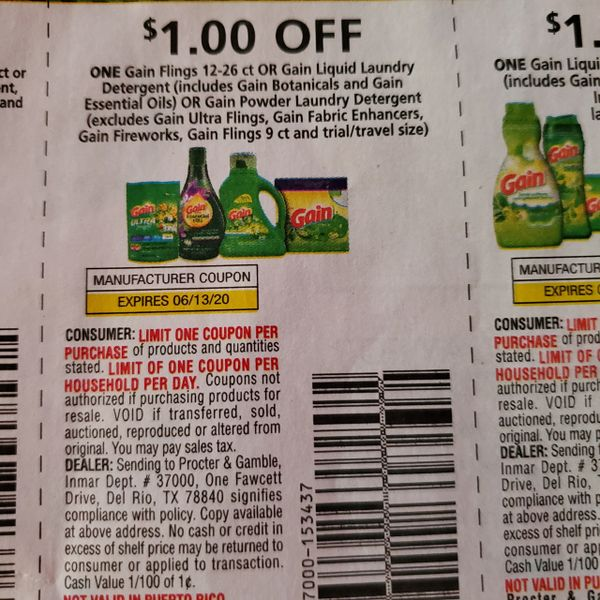 10 Coupons $1/1 Gain Flings 12-26ct Or Gain Laundry Detergent (SEE PIC) Exp.6/13/20