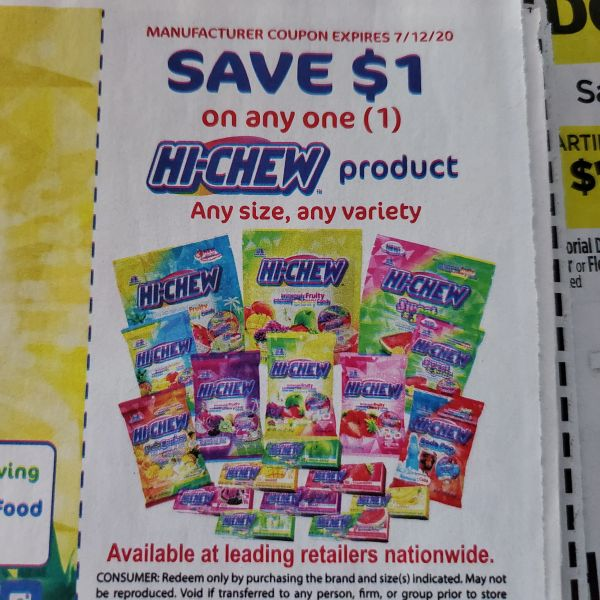 10 Coupons $1/1 Hi-Chew Product Exp.7/12/20