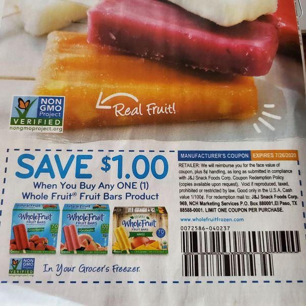 10 Coupons $1/1 Whole Fruit Fruit Bars Product Exp.7/26/20