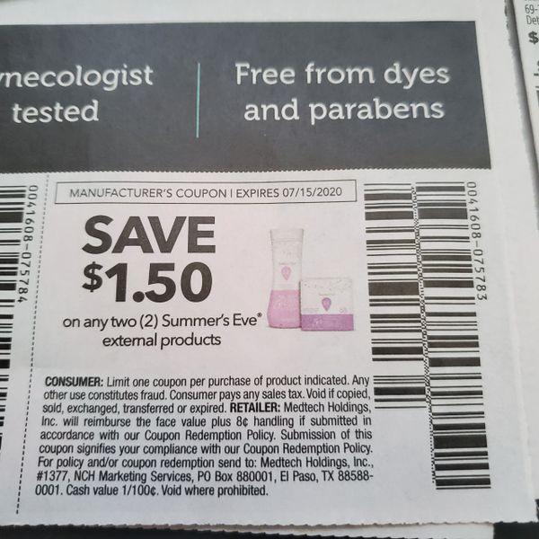 10 Coupons $1.50/2 Summer's Eve External Products Exp.7/15/20