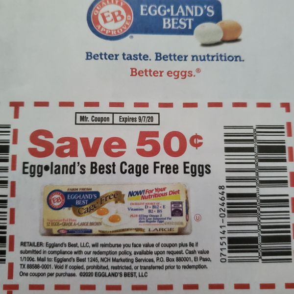 10 Coupons $.50/1 Eggland's Best Cage Free Eggs Exp.9/7/20
