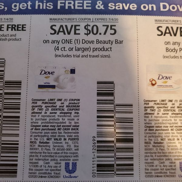 10 Coupons $.75/1 Dove Beauty Bar (4ct+) Product Exp.7/4/20