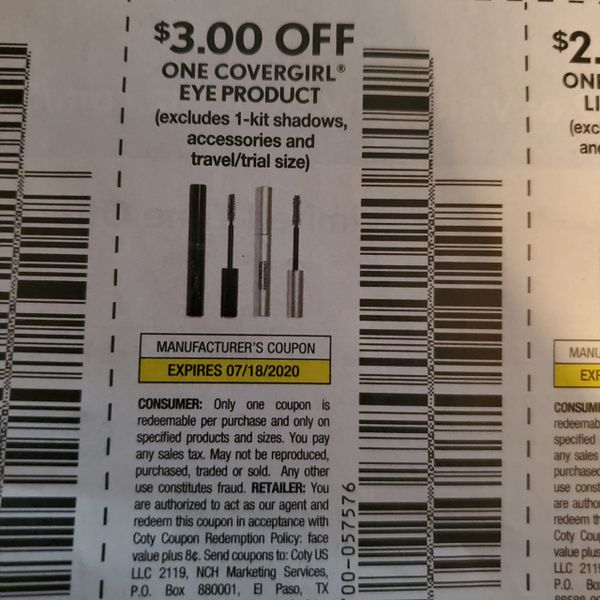 10 Coupons $3/1 Covergirl Eye Product Exp.7/18/20