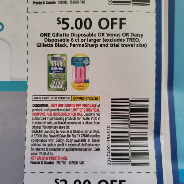 10 COupons $5/1 Gillette or Venus or Daisy Disposable 6ct+ (Excludes Treo, Gillette Black, PermaSharp) Exp.7/25/20