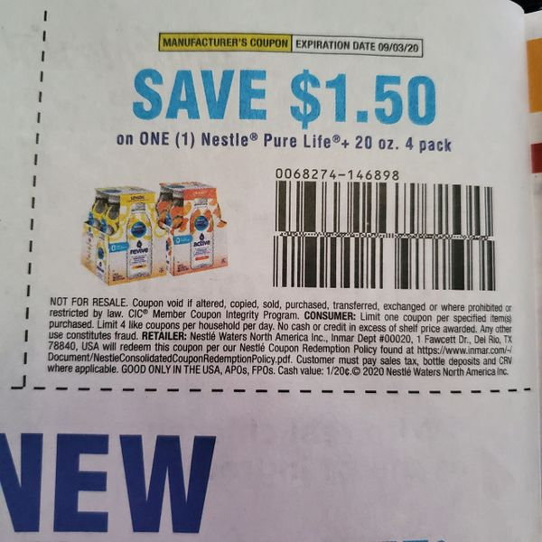 10 Coupons $1.50/1 Nestle Pure Life+ 20oz+ 4pk Exp.9/3/20