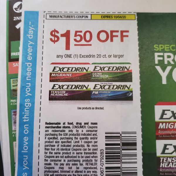 10 Coupons $1.50/1 Excedrin 20ct+ Exp.10/4/20