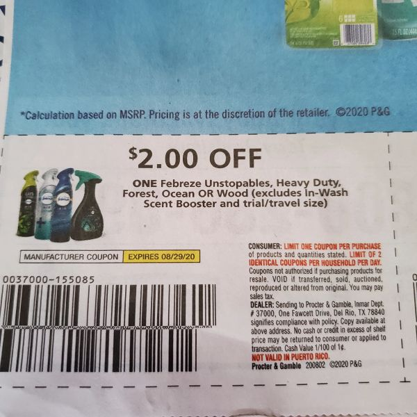 10 Coupons $2/1 Febreze Unstopables, Heavy Duty, Forest, Ocean or Wood (Excludes In-Wash Scent Booster) Exp.8/29/20