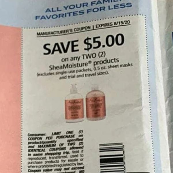 10 Coupons 5 2 Sheamoisture Products Excludes Single Use Packets 0 5oz Sheet Masks Exp 8 15 20 Extremecouponclippings