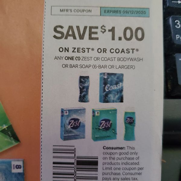 10 Coupons $1/1 Zest or Coast Bodywash or Bar Soap (6-bar+) Exp.9/12/20