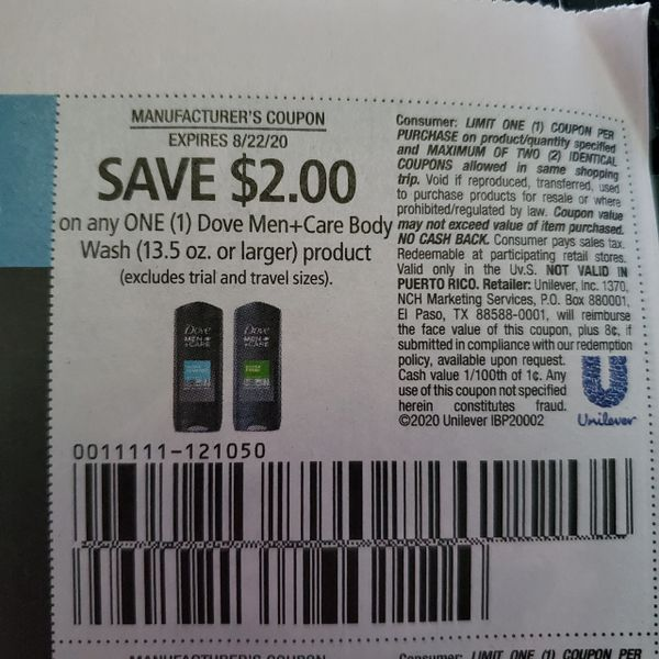 10 Coupons $2/1 Dove Men+Care Body Wash (13.5oz+) Product Exp.8/22/20