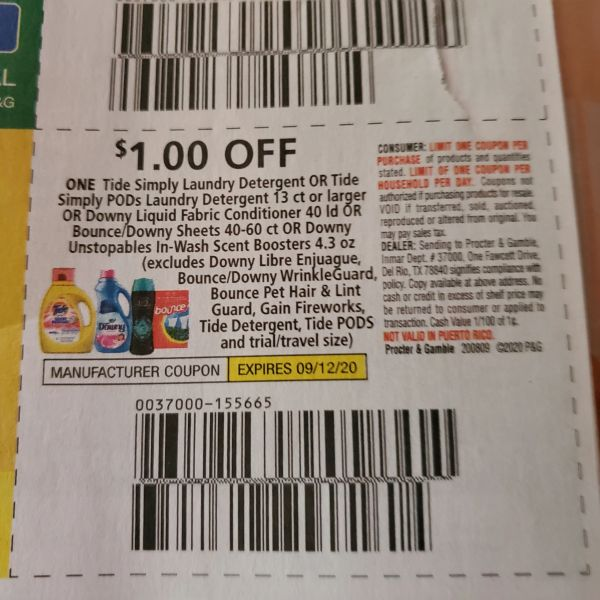 10 Coupons $1/1 Tide Simply Laundry Detergent (SEE PIC) Exp.9/12/20