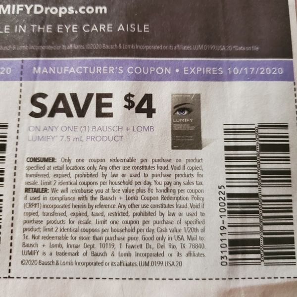 10 Coupons $4/1 Bausch + Lomb Lumify 7.5mL Product Exp.10/17/20