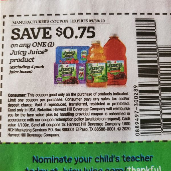 10 Coupons $.75/1 Juicy Juice Product (Excludes 4 Pack Juice Boxes) Exp.9/30/20