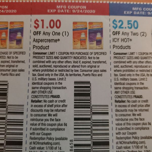 10 Coupons $1/1 Aspercreme Product Exp.9/24/20