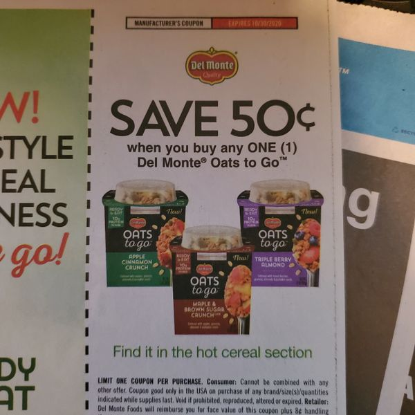 10 Coupons $.50/1 Del Monte Oats To Go Exp.10/30/20