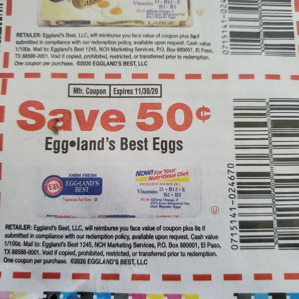 10 Coupons $.50/1 Eggland's Best Eggs Exp.11/30/20