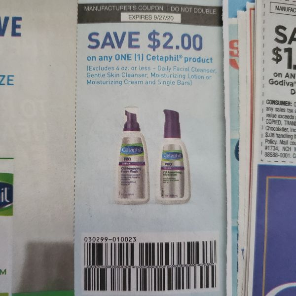 10 Coupons $2/1 Cetaphil Product Exp.9/27/20