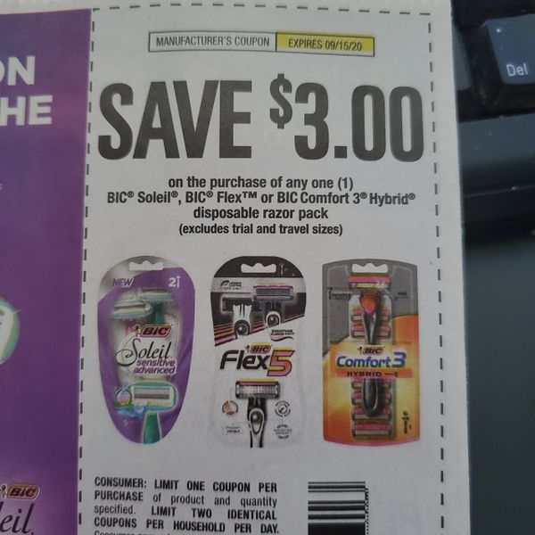 10 Coupons $3/1 Bic Soleil, Bic Flex or Bic Comfort 3 Hybrid Disposable Razor Pack Exp.9/15/20
