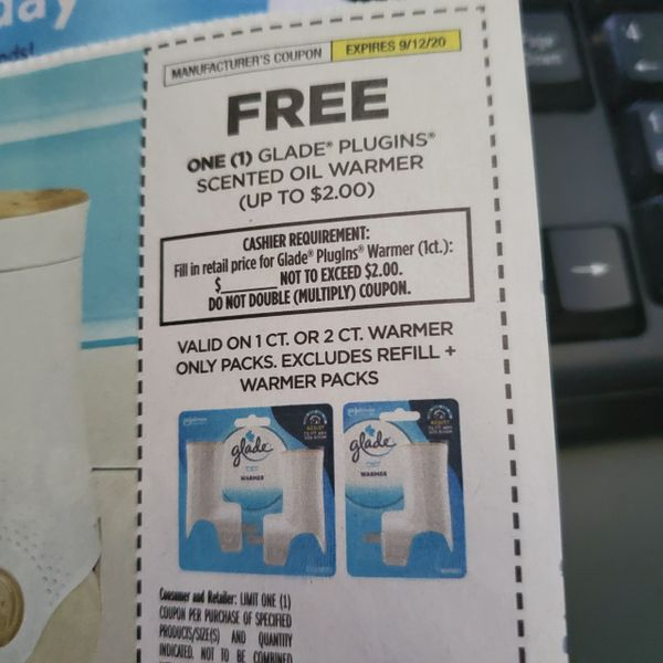 10 Coupons FREE Glade Plugins Scented Oil Warmer (Up To $2) Exp.9/12/20