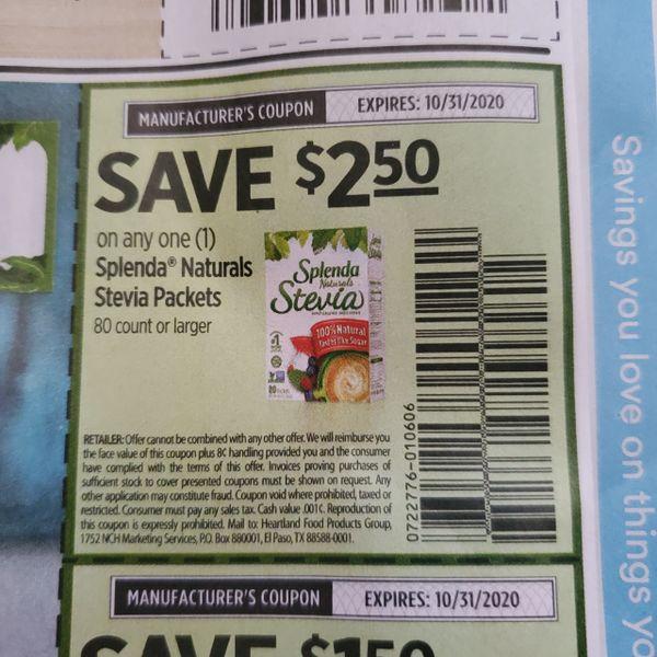 10 Coupons $2.50/1 Splenda Naturals Stevia Packets 80ct+ Exp.10/31/20