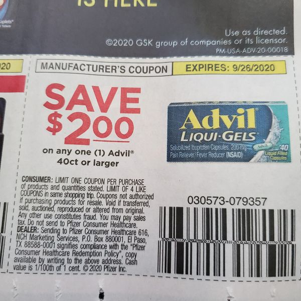10 Coupons $2/1 Advil 40ct+ Exp.9/26/20