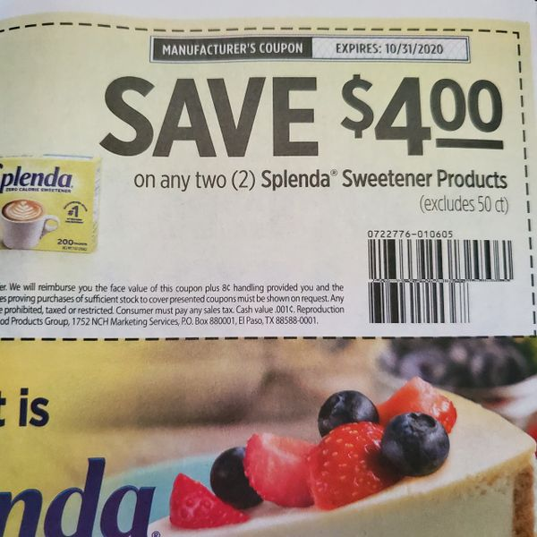 10 Coupons $4/2 Splenda Sweetener Products (Excludes 50ct) Exp.10/31/20