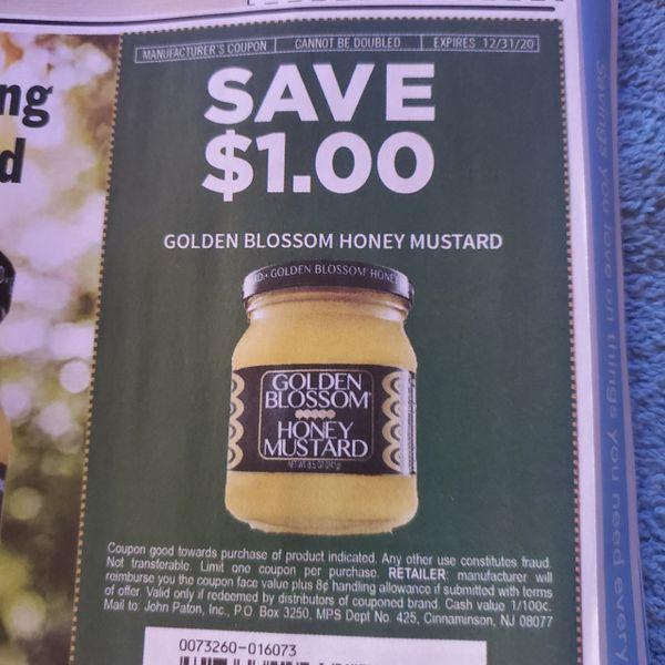 10 Coupons $1/1 Golden Blossom Honey Mustard Exp.12/31/20