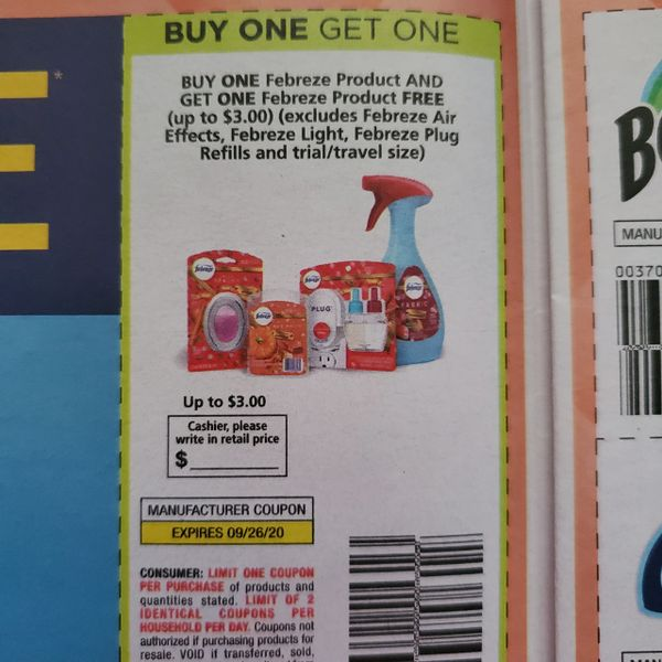 10 Coupons BOGO Febreze Product (Up to $3) (Excludes Air Effects, Light, Plug Refills) Exp.9/26/20