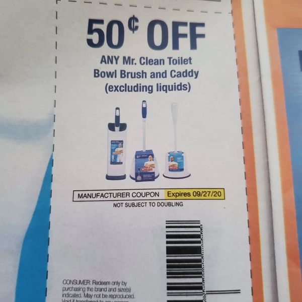 10 Coupons $.50/1 Mr. Clean Toilet Bowl Brush and Caddy (Excludes Liquids) Exp.9/27/20