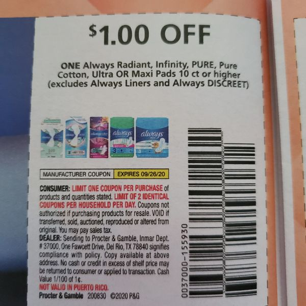 10 Coupons $1/1 Always Radiant, Infinity, Pure, Pure Cotton, Ultra or Maxi Pads 10ct+ (Excludes Always Liners and Always Discreet) Exp.9/26/20