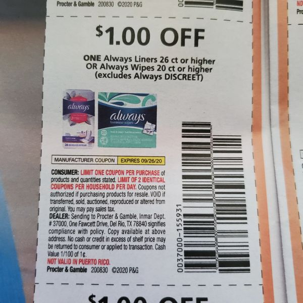 10 Coupons $1/1 Always Liners 26ct+ or Always Wipes 20ct6+ (Excludes Discreet) Exp.9/26/20