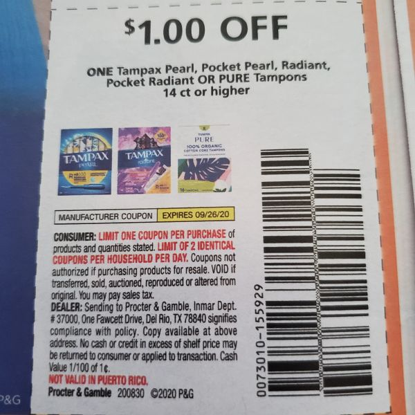 10 Coupons $1/1 Tampax Pearl, Pocket Pearl, Radiant, Pocket Radiant or Pure Tampons 14ct+ Exp.9/26/20