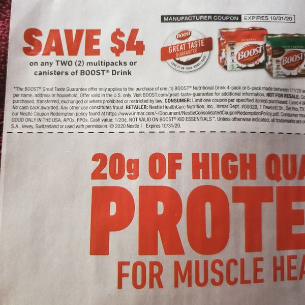 10 Coupons $4/2 Boost Drink Multi-Packs or Canisters Exp.10/31/20