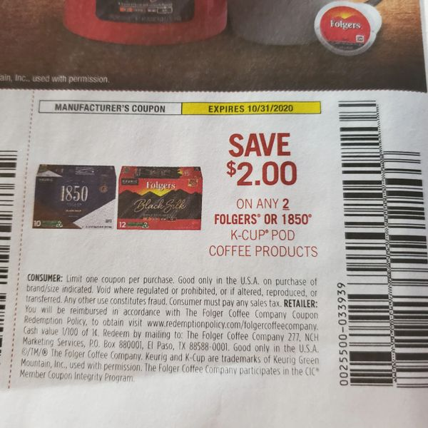10 Coupons $2/2 Folgers or 1850 K-Cup Pod Coffee Products Exp.10/31/20