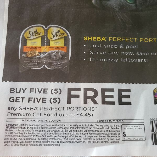 10 Coupons B5G5 Sheba Perfect Portions Cat Food (Up To $4.45) Exp.11/1/20