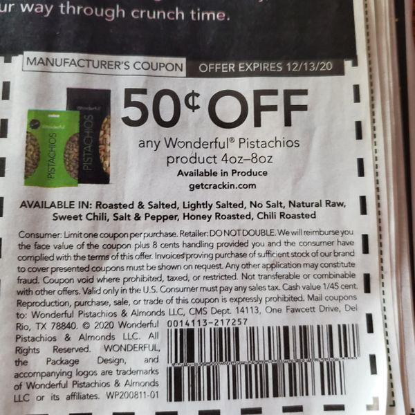 10 Coupons $.50/1 Wonderful Pistachios Product 4oz-8oz exp.12/13/20