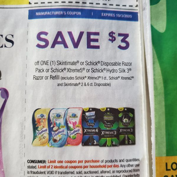 10 Coupons $3/1 Skintimate or Schick Disposable Razor Pack or Schick Xtreme5 or Schick Hydro Silk 3 Razor or Refill (Excludes Schick Xtreme3 1ct, Schick Xtreme2 and Skintimate 2 & 6ct Disposable) Exp.10/3/20