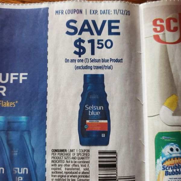 10 Coupons $1.50/1 Selsun Blue Product Exp.11/12/20