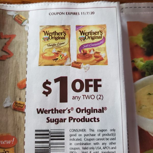 10 Coupons $1/2 Werther's Original Sugar Products Exp.11/7/20