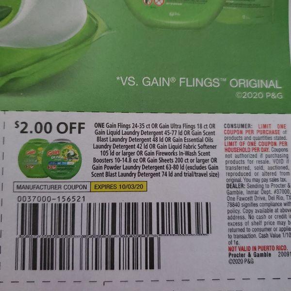 10 Coupons $2/1 Gain Flings 24-35ct Or Gain Utra Flings 18ct Or Gain Liquid Laundry Detergent 45-77ld Or Gain Essential Oils Laundry Detergent 42Ld Or Gain Scent Blast Laundry Detergent 8ld Or Gain Powder Laundry Detergent Exp.10/3/20