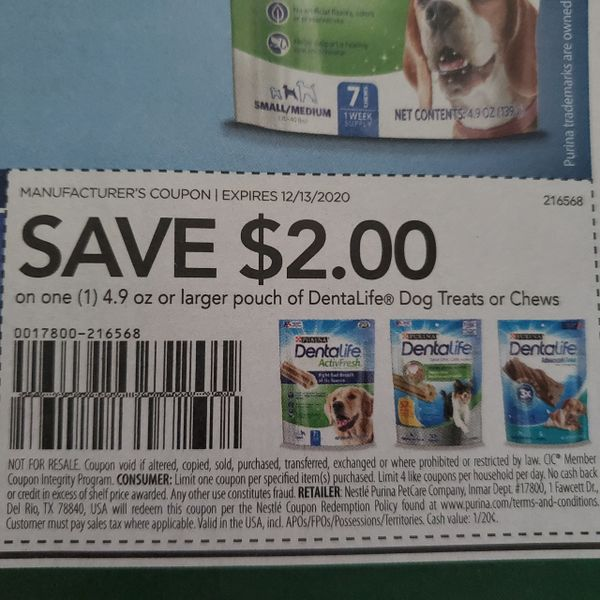 10 Coupons $2/1 DentaLife Dog Chews or Treats 4.9oz+ Exp.12/13/20