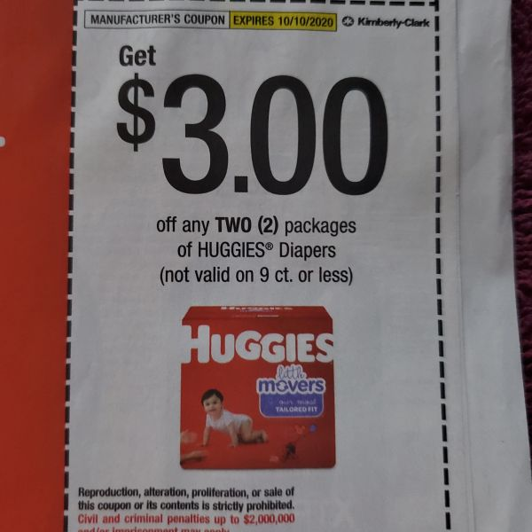 10 Coupons $3/2 Huggies Diapers (Excludes 9ct or Less) Exp.10/10/20